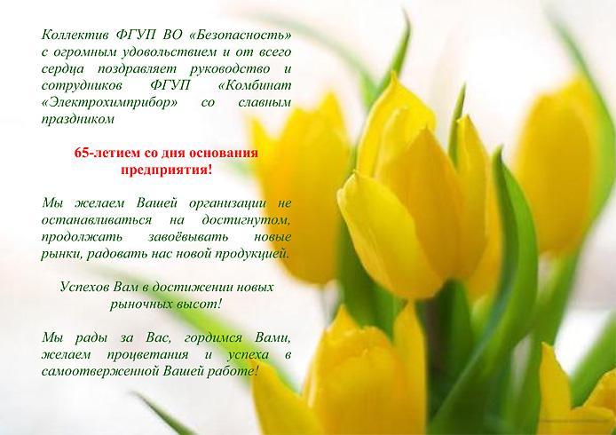 ФГУП ВО «Безопасность» поздравляет ФГУП «Комбинат «Электрохимприбор» с 65-летием!